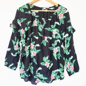 OLD NAVY Hawaiian bird print ruffle sleeve top